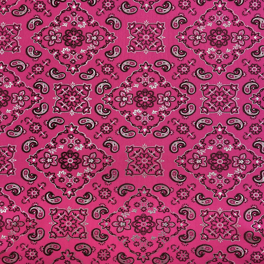 Neon Pink Bandanna Paisley Spandex Fabric - Fashion Fabrics Los Angeles