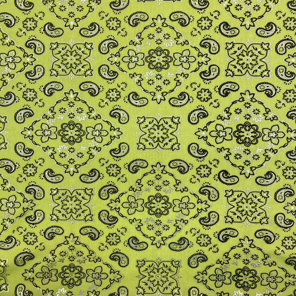 Neon Yellow Bandanna Paisley Spandex Fabric - Fashion Fabrics Los Angeles