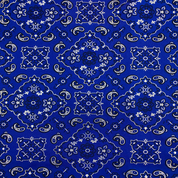Royal Blue Bandanna Paisley Spandex Fabric - Fashion Fabrics Los Angeles