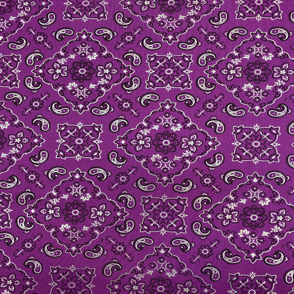 Magenta Bandanna Paisley Spandex Fabric - Fashion Fabrics Los Angeles