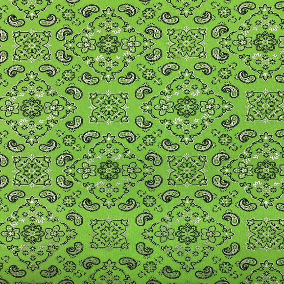 Neon Lime Green Bandanna Paisley Spandex Fabric - Fashion Fabrics Los Angeles
