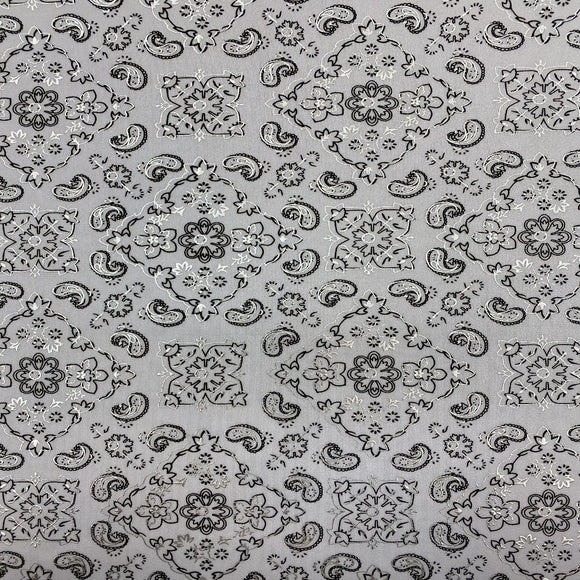 White Bandanna Paisley Spandex Fabric - Fashion Fabrics Los Angeles