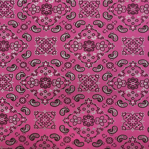 Pink Bandanna Paisley Spandex Fabric - Fashion Fabrics Los Angeles