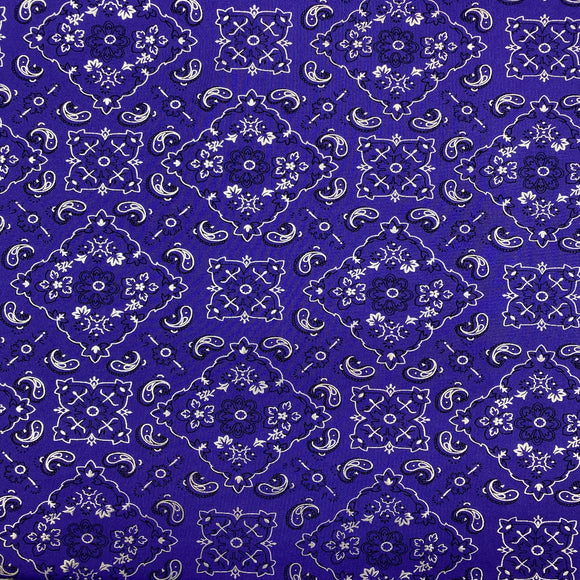 Purple Bandanna Paisley Spandex Fabric
