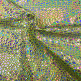 Neon Yellow Tie Dye Hologram Scale Snake Skin Nylon Spandex Fabric - Fashion Fabrics Los Angeles