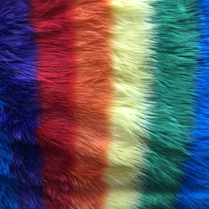 Rainbow 2 Striped Faux Fur Fabric - Fashion Fabrics Los Angeles