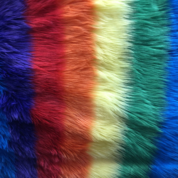 Rainbow 2 Striped Faux Fur Fabric