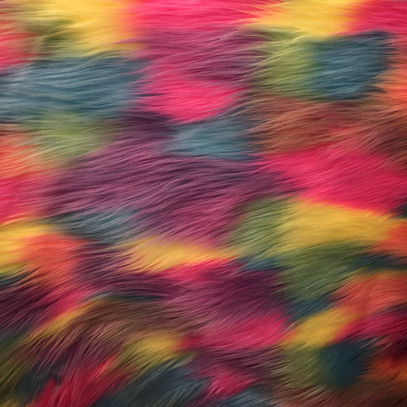 Rainbow Patchwork Long Pile Faux Fur Fabric