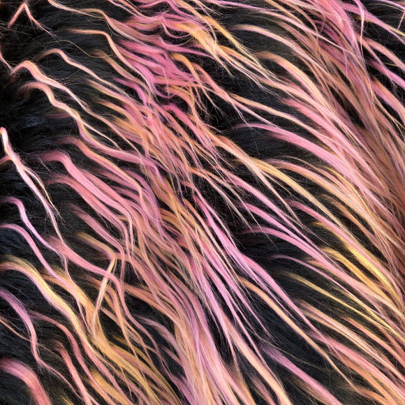 Pink Black Orange Multicolor Curly Long Pile Faux Fur Fabric - Fashion Fabrics Los Angeles