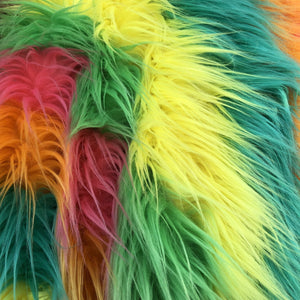 Bright Rainbow Multicolor Curly Long Pile Faux Fur Fabric - Fashion Fabrics Los Angeles