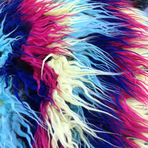 Dark Rainbow Multicolor Curly Long Pile Faux Fur Fabric - Fashion Fabrics Los Angeles