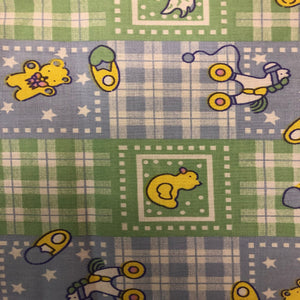 Blue Green Plaid Rubber Ducky Print Poly Cotton Fabric - Fashion Fabrics Los Angeles