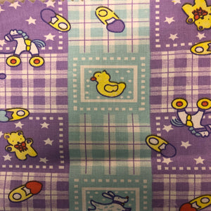 Purple Blue Plaid Rubber Ducky Print Poly Cotton Fabric