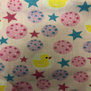 Multi-Color Rubber Ducky Print Poly Cotton Fabric - Fashion Fabrics Los Angeles