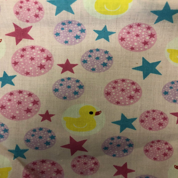 Multi-Color Rubber Ducky Print Poly Cotton Fabric