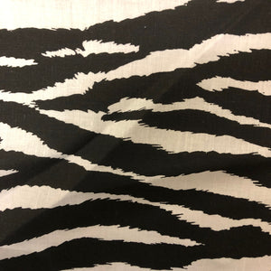 White Black Zebra Print Poly Cotton Fabric