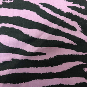 Pink Black Zebra Print Poly Cotton Fabric