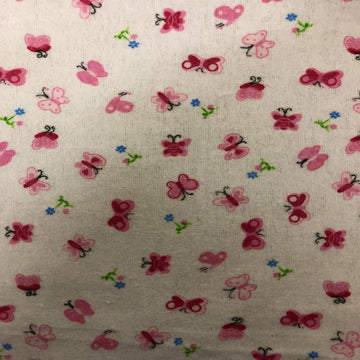 Pink Butterfly Print Flannel Fabric - Fashion Fabrics Los Angeles