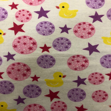 Purple Pink Rubber Ducky Flannel Print Fabric - Fashion Fabrics Los Angeles