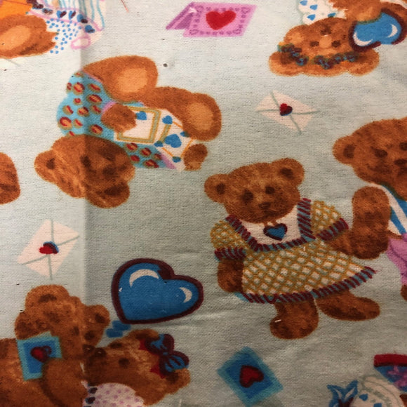 Baby Blue Teddy Bear Print Flannel Fabric - Fashion Fabrics Los Angeles