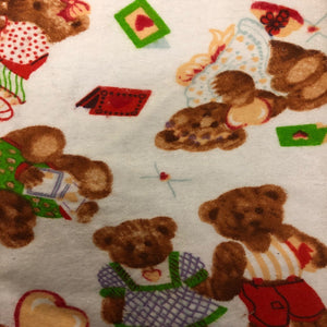 White Teddy Bear Print Flannel Fabric - Fashion Fabrics Los Angeles