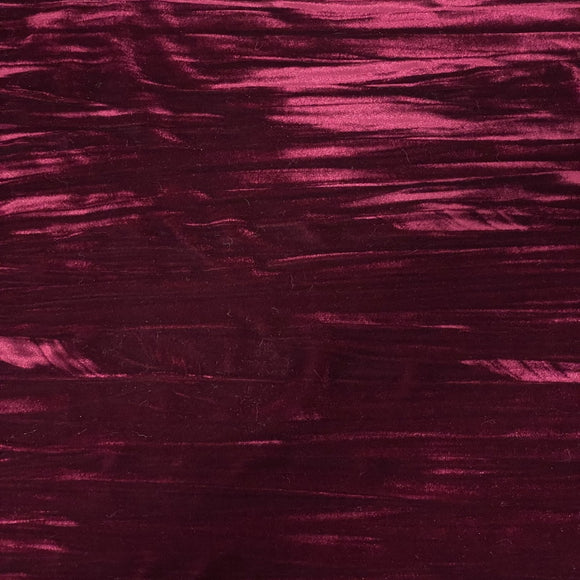 Maroon Red Crinkle Stretch Velvet Fabric - Fashion Fabrics Los Angeles