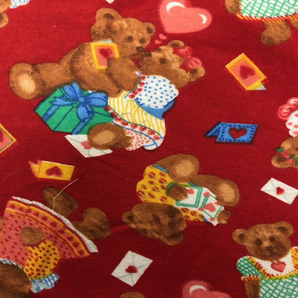 Red Teddy Bear Print Flannel Fabric