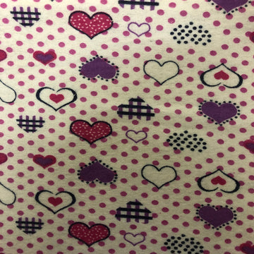 Purple Pink Dotted Heart Print Flannel Fabric - Fashion Fabrics Los Angeles