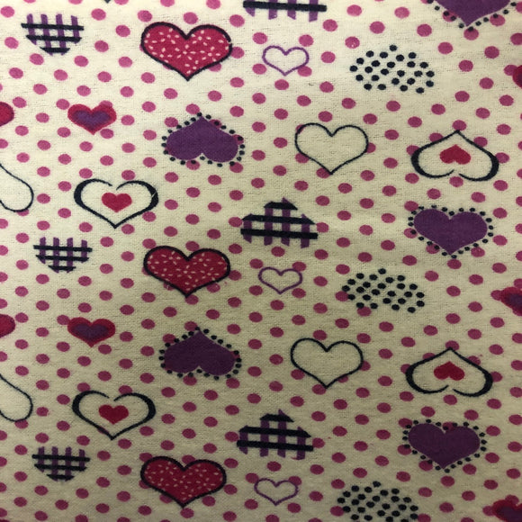 Purple Pink Dotted Heart Print Flannel Fabric