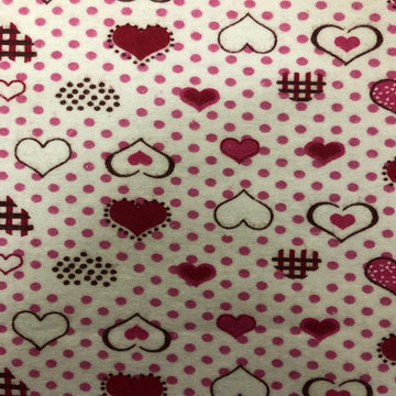 Pink Red Dotted Heart Print Flannel Fabric - Fashion Fabrics Los Angeles