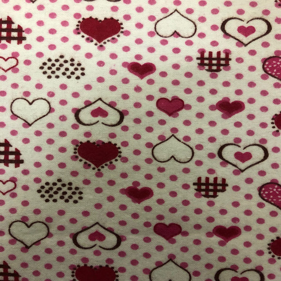 Pink Red Dotted Heart Print Flannel Fabric