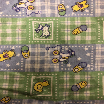 Green Blue Plaid Rubber Ducky Flannel Print Fabric - Fashion Fabrics Los Angeles