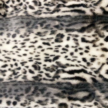 Gray Snow Leopard Tissavel Faux Fur Fabric - Fashion Fabrics Los Angeles