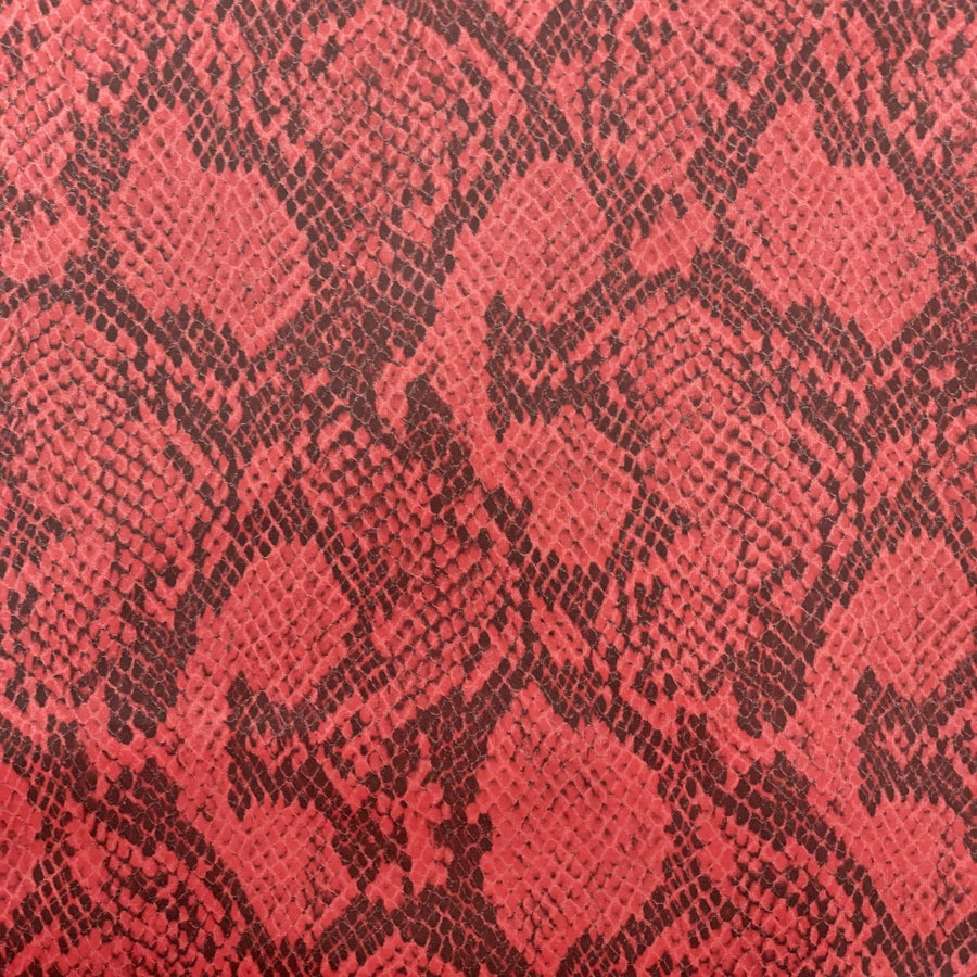 Red Piuma Snakeskin Vinyl Fabric - Fashion Fabrics Los Angeles