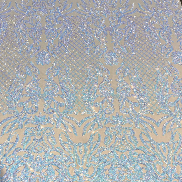 Pearl Blue Iridescent Luna Stretch Sequins Lace Fabric - Fashion Fabrics Los Angeles