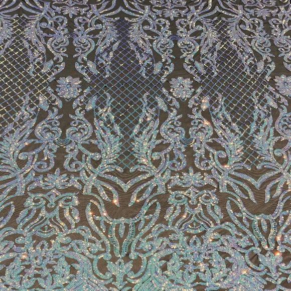Pearl Blue Black Mesh Iridescent Luna Stretch Sequins Lace Fabric