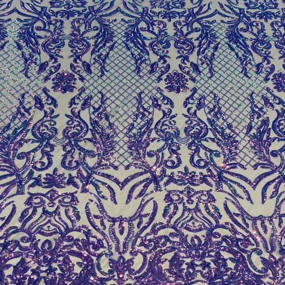 Lavender Iridescent Luna Stretch Sequins Lace Fabric - Fashion Fabrics Los Angeles