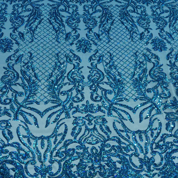 Turquoise Iridescent Luna Stretch Sequins Lace Fabric - Fashion Fabrics Los Angeles