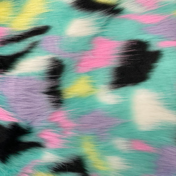 Light Blue Candyland Patchwork Faux Fur Fabric - Fashion Fabrics Los Angeles