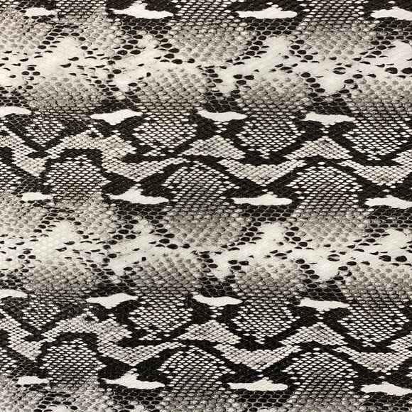 White Black Tribal Snakeskin Vinyl Fabric - Fashion Fabrics Los Angeles