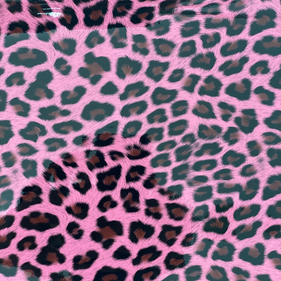 Pink Patent Leather Leopard Print Vinyl Fabric - Fashion Fabrics Los Angeles