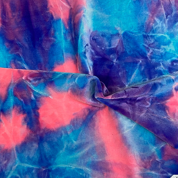 Royal Blue Pink Tie Dye Stretch Velvet Fabric - Fashion Fabrics Los Angeles