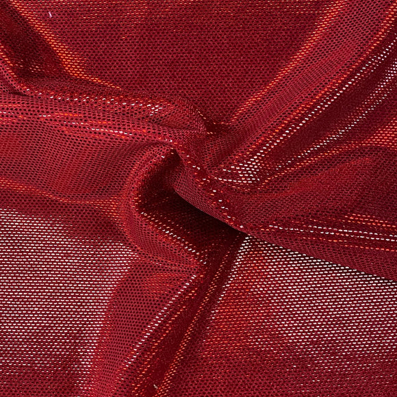 Red Foil Dotted Stretch Velvet Fabric - Fashion Fabrics LLC