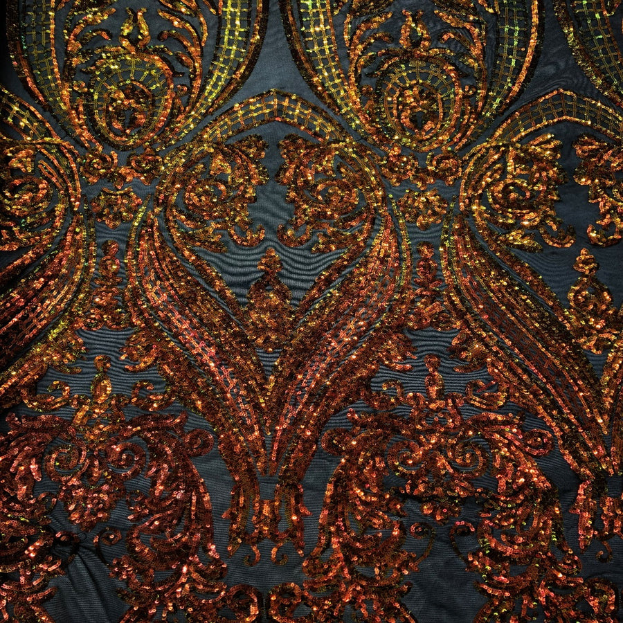 Orange Iridescent | Black Mesh Catina Lace Fabric - Fashion Fabrics LLC