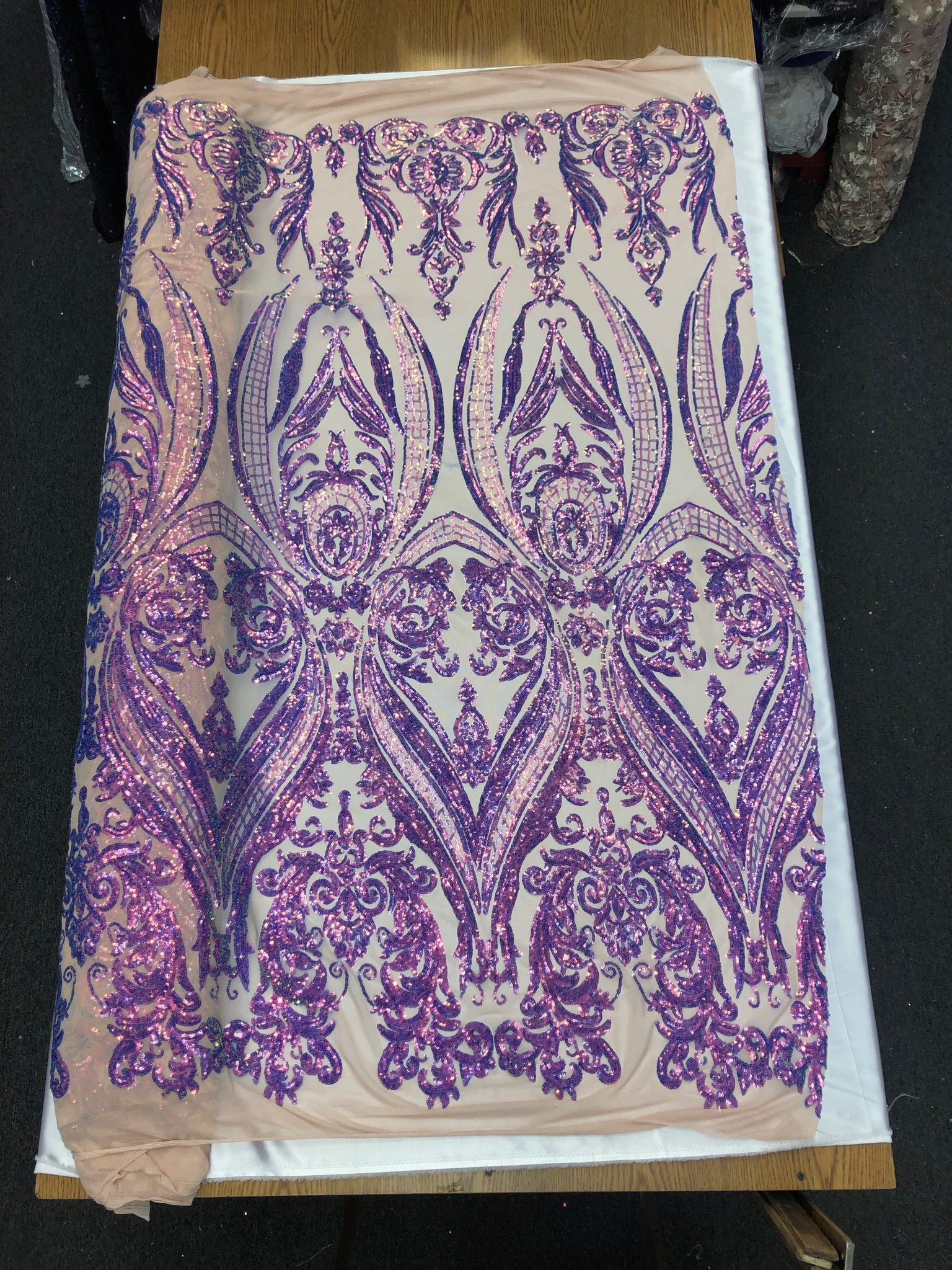 5 yards heavy embroidered lace fabric in multi color pink