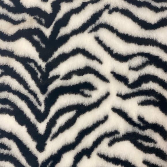 White Black Tiger Luxe Plush Faux Fur Fabric - Fashion Fabrics LLC