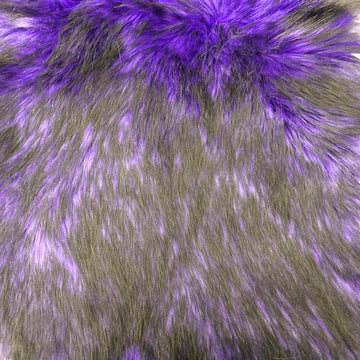 Purple Black Husky Print Long Pile Shaggy Faux Fur Fabric - Fashion Fabrics LLC