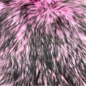 Light Pink Black Husky Print Long Pile Shaggy Faux Fur Fabric - Fashion Fabrics LLC
