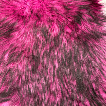 Hot Pink Black Husky Print Long Pile Shaggy Faux Fur Fabric - Fashion Fabrics LLC