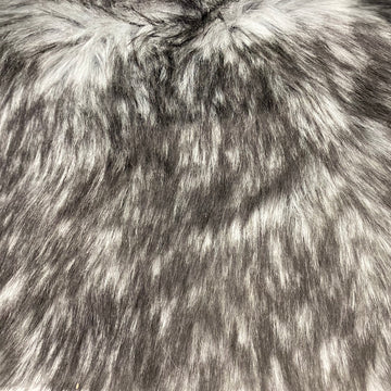 Gray Black Husky Print Long Pile Shaggy Faux Fur Fabric - Fashion Fabrics LLC